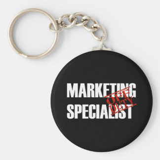 OFF DUTY MARKETING SPECIALIST DARK BASIC ROUND BUTTON KEY RING