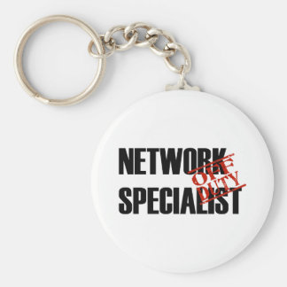 OFF DUTY NETWORK SPECIALIST LIGHT BASIC ROUND BUTTON KEY RING
