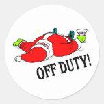 Off Duty Santa (Drunk) Round Stickers