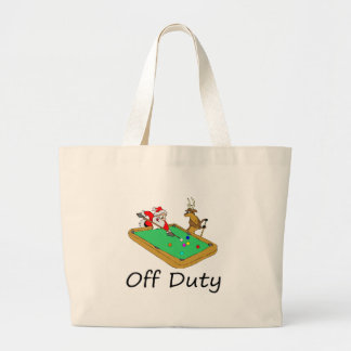 Off Duty Santa (Playing Pool) Canvas Bags