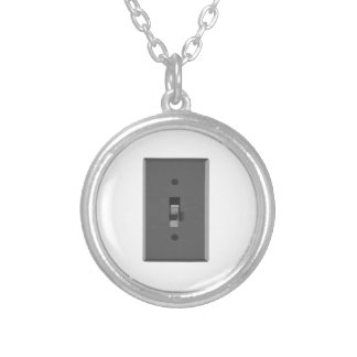 Off Electrical Light Switch Silver Plated Necklace