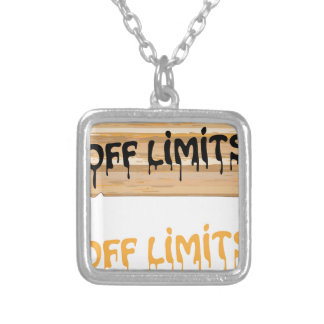 Off Limits wood sign Painted Silver Plated Necklace