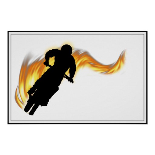 Off Road Dirt Bike with Flames Poster