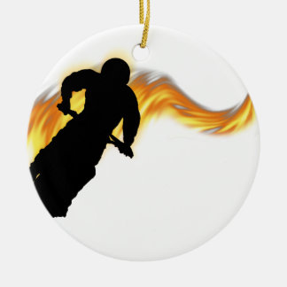 Off Road Dirt Bike with Flames Round Ceramic Decoration