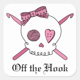 Off The Hook Crochet Skull Square Sticker