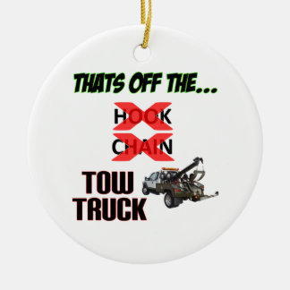 Off the Tow Truck Round Ceramic Decoration
