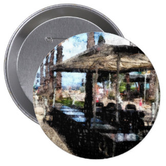 Off-time in a restaurant 10 cm round badge