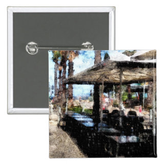 Off-time in a restaurant 15 cm square badge