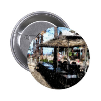 Off-time in a restaurant 6 cm round badge