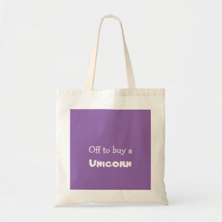 Off to buy a ticket unicorn tote