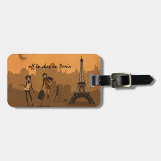 off to shop in Paris Travel Bag Tag
