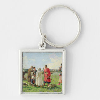 Off to the Zaporozhian Host, 1889 Silver-Colored Square Key Ring