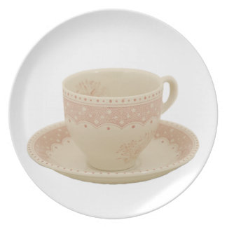 Off White and Pink Teacup Plate
