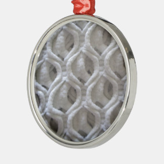 Off-White Colored Crochet Fabric Look Silver-Colored Round Decoration