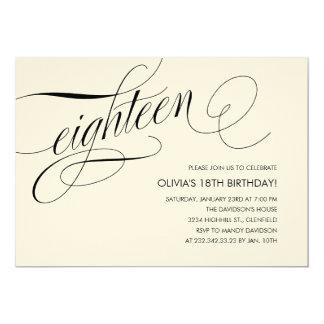"""Off White Contemporary 18th Birthday Invitations 5"""" X 7"""" Invitation Card"""