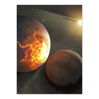 Off-World Planetary Crash Illustration 14 Cm X 19 Cm Invitation Card