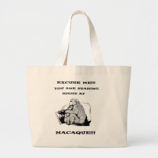 offensive humor Funny Macaque monkey Large Tote Bag