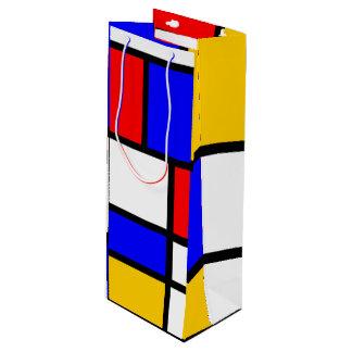 Offer the modern art Mondrian style Wine Gift Bag