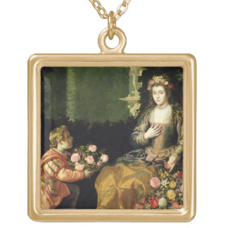 Offering to Flora, 1627 (oil on canvas) Gold Plated Necklace