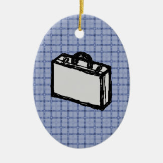 Office Briefcase or Travel Suitcase Sketch. Blue. Christmas Ornament