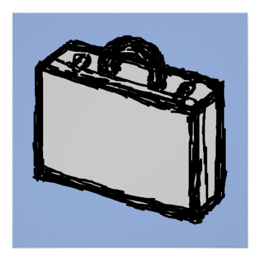 Office Briefcase or Travel Suitcase Sketch. Blue. Posters