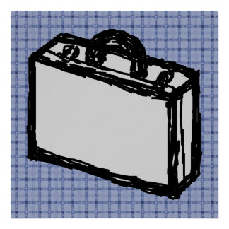 Office Briefcase or Travel Suitcase Sketch. Blue. Poster