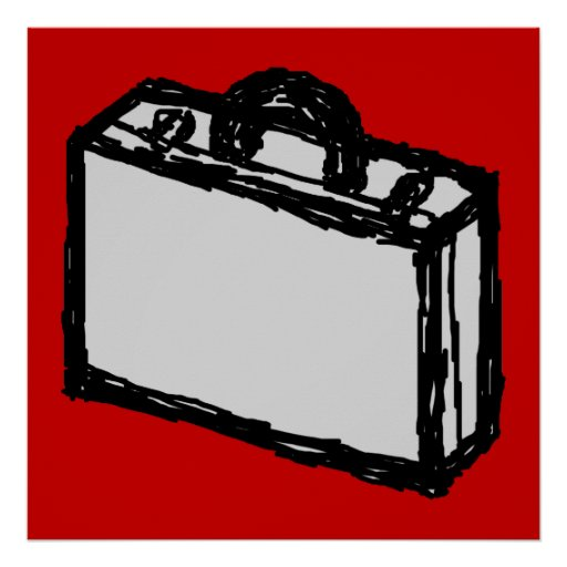 Office Briefcase or Travel Suitcase. Sketch on Red Poster