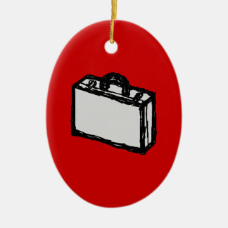 Office Briefcase or Travel Suitcase. Sketch. Red Christmas Ornament