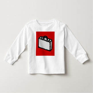 Office Briefcase or Travel Suitcase. Sketch. Red Tee Shirt