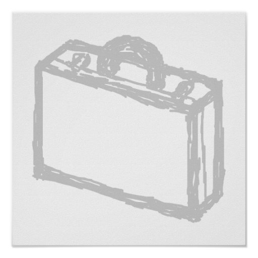Office Briefcase or Travellers Suitcase. Sketch. Print