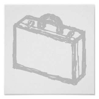 Office Briefcase or Travellers Suitcase. Sketch. Posters