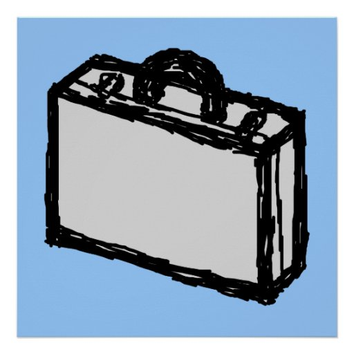Office Briefcase or Travellers Suitcase. Sketch. Poster
