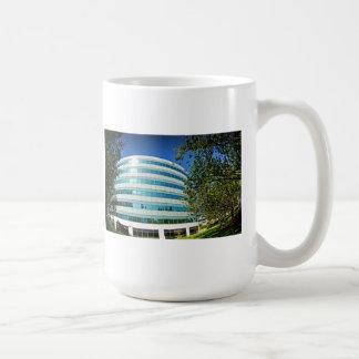 Office building, shot  with a fisheye lens basic white mug