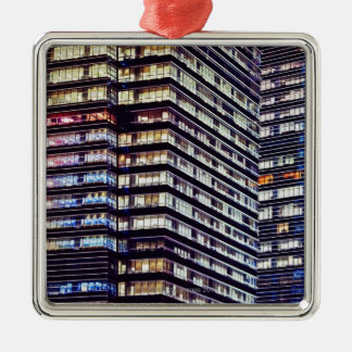 Office buildings at night, Singapore Christmas Ornament
