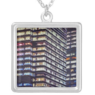 Office buildings at night, Singapore Silver Plated Necklace