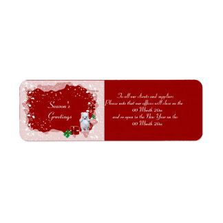 Office closing opening Christmas Xmas reminder Return Address Label