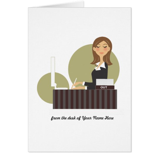 Office Girl Personalised Notecards Card