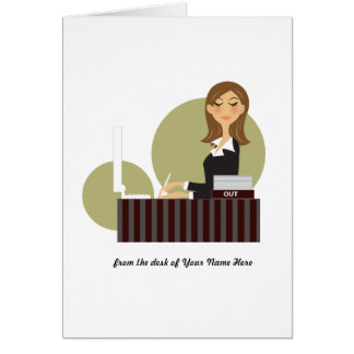 Office Girl Personalized Notecards Card