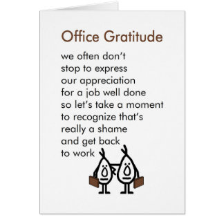 Office Gratitude - A funny Office Thank You Poem Greeting Card