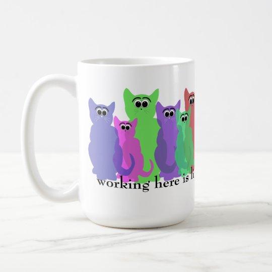 Office Mug; working here like herding cats Coffee