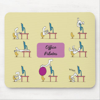 Office Pilates mousemat, yellow Mouse Mat