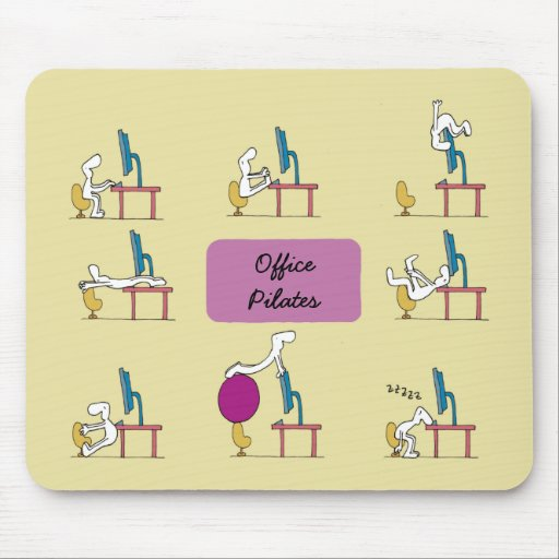 Office Pilates mousemat, yellow Mousepads