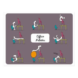 Office Pilates postcard, brown