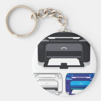 Office Printer Basic Round Button Key Ring