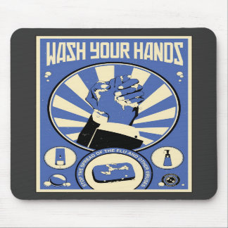 Office Propaganda: Wash your hands (blue) Mouse Pad
