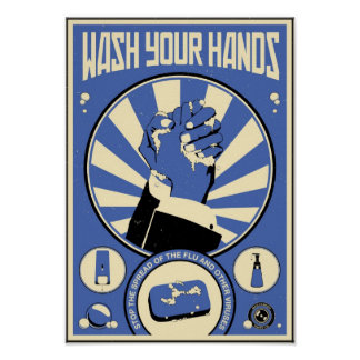 Office Propaganda: Wash your hands (blue) Poster