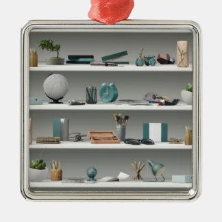 Office Shelves Wellness Teal Christmas Ornament