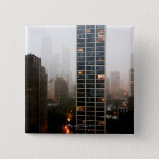 Office towers, condos and Hancock Tower in fog 15 Cm Square Badge