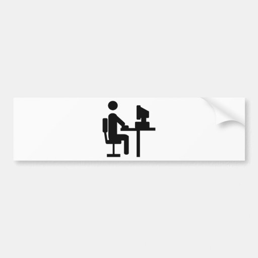 office worker icon car bumper sticker