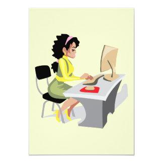 OFFICE WORKER WOMAN BUSINESS LOGO GRAPHICS SECRETA 13 CM X 18 CM INVITATION CARD